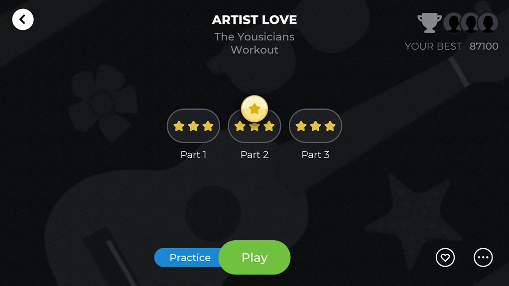 Berlatih dengan lagu di Aplikasi Yousician