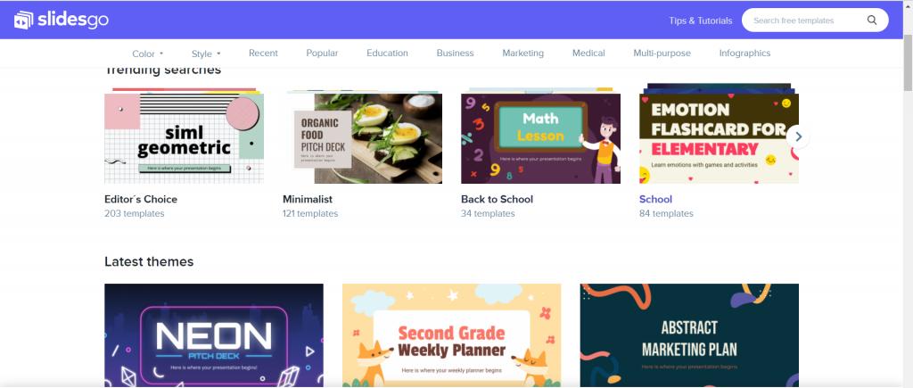 Slidesgo menyediakan tema gratis yang keren dengan iconpack