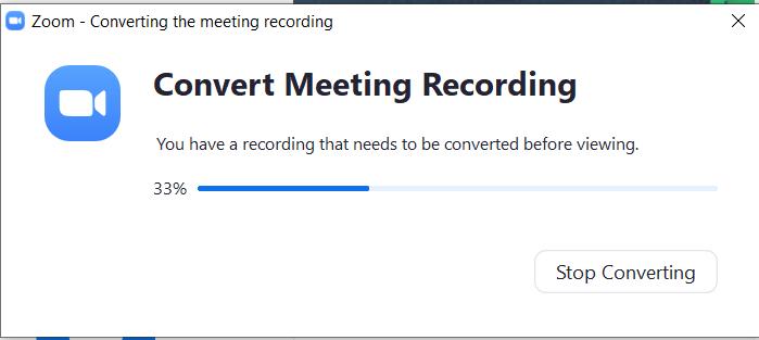 Tunggu rekaman membuat video pembelajaran dengan zoom di-convert oleh Zoom setelah meeting selesai