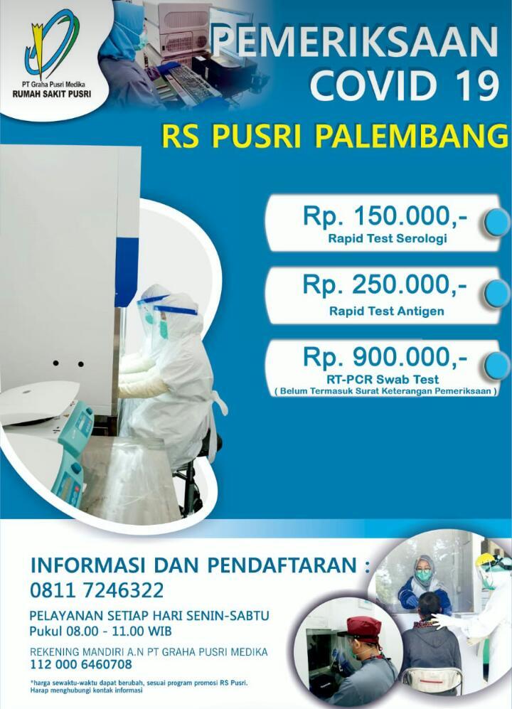 Informasi harga tes covid di RS Pusri Palembang
