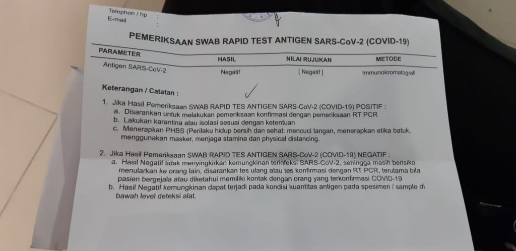 Hasil pemeriksaan Swab Rapid Test Antigen, berlaku 2x24 jam untuk syarat perjalanan naik pesawat di masa pandemi